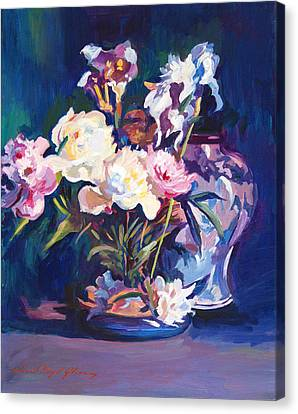 Iris Peonies And Chinese Vase Canvas Print by David Lloyd Glover