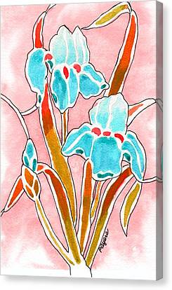 Canvas Print featuring the painting Irises With An Attitude by Paula Ayers