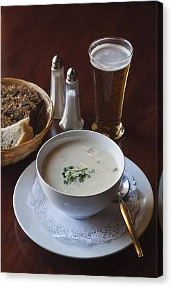Irish Food Fish Chowder, Beer, Soda Bread Canvas Print