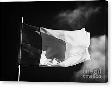 Irish Tricolour Flag With Frayed Edges Flying In Republic Of Ireland Canvas Print by Joe Fox