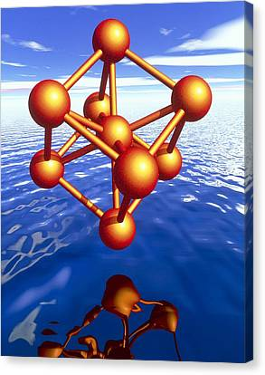 Iron Molecule Over Water Canvas Print by Pasieka