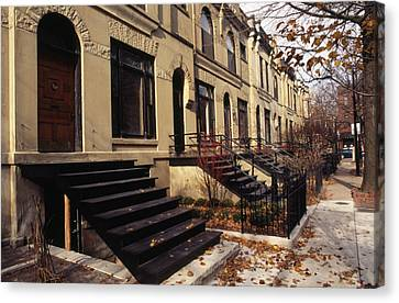 Iron Steps And Entrances In Row Houses Canvas Print by Paul Damien