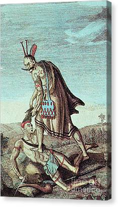 Iroquois Warrior Scalping Enemy, 1814 Canvas Print by Photo Researchers