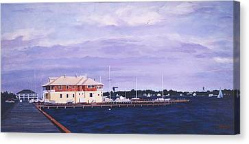 Island Heights Yacht Club Canvas Print by Robert Henne
