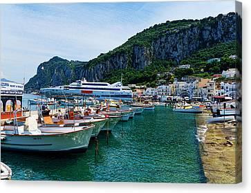 Isle Of Capri Italy Harbor Canvas Print by Jon Berghoff