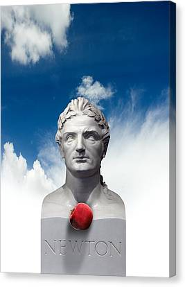 Issac Newton And The Apple, Artwork Canvas Print by Victor Habbick Visions