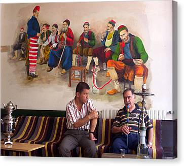 Canvas Print featuring the photograph Istanbul Smokers by Lou Ann Bagnall