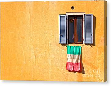 Italian Flag Window And Yellow Wall Canvas Print