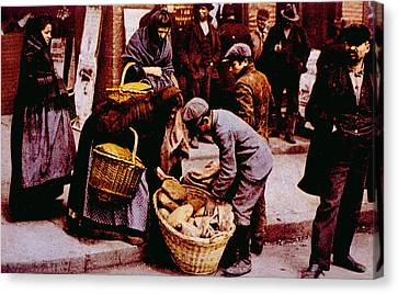 Italian Immigrants Selling Bread Canvas Print by Everett