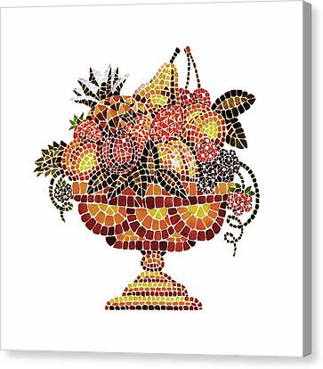 Italian Mosaic Vase With Fruits Canvas Print by Irina Sztukowski