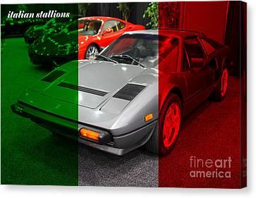 Italian Stallions . 1984 Ferrari 308 Gts Qv Canvas Print by Wingsdomain Art and Photography