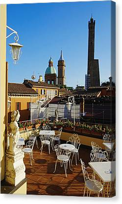 Italy, Bologna,towers Degli Asinelli And Garisenda Canvas Print by Bruno Morandi