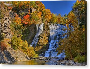 Ithaca Falls In Autumn Canvas Print by Matt Champlin
