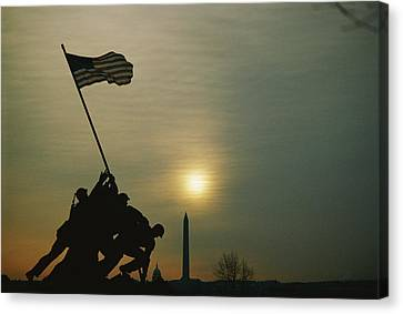Iwo Jima Monument Silhouetted Canvas Print