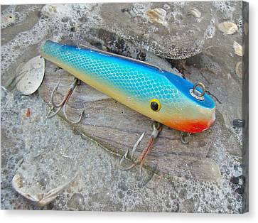 J And J Flop Tail Vintage Saltwater Fishing Lure - Blue Canvas Print