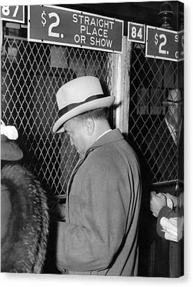 Law Enforcement Canvas Print - J. Edgar Hoover Placing A Bet by Everett