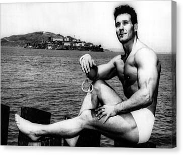 Fitness Instructor Canvas Print - Jack Lalanne Before Handcuffed Swim by Everett