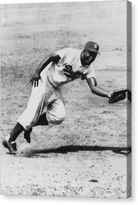 Jackie Robinson, Fielding Third Base Canvas Print by Everett