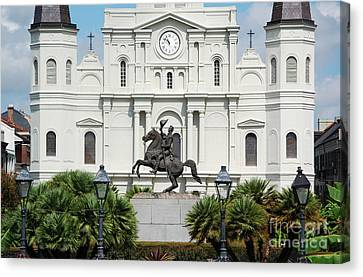 Jackson Statue And St Louis Cathedral French Quarter New Orleans Canvas Print by Shawn O'Brien