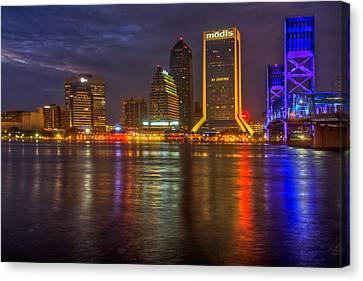 Jacksonville At Night Canvas Print by Debra and Dave Vanderlaan
