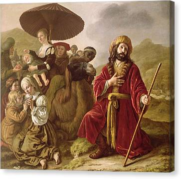 Jacob Seeking Forgiveness Of Esau Canvas Print by Jan Victoors