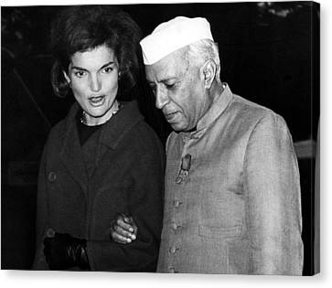 Jacqueline Kennedy, And Indian Prime Canvas Print by Everett