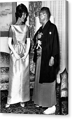 Jacqueline Kennedy, And Japanese Prime Canvas Print