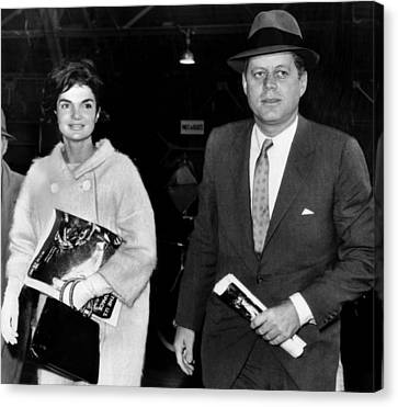 Jacqueline Kennedy And John F. Kennedy Canvas Print by Everett