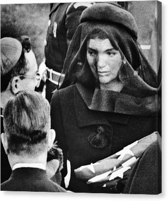 Jacqueline Kennedy At President John Canvas Print by Everett