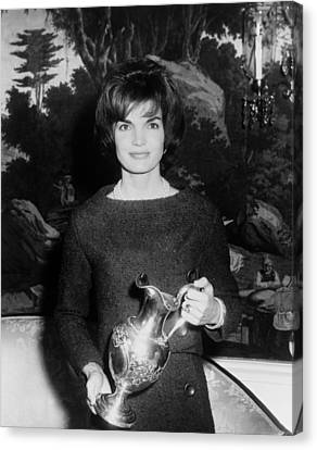 Jacqueline Kennedy Holds A Silver Canvas Print by Everett