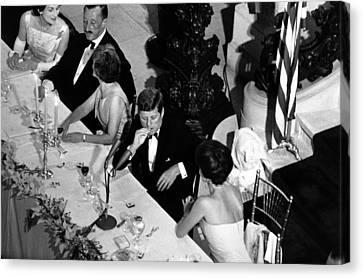 Jacqueline Kennedy Leans Over To Talk Canvas Print