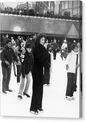 Jacqueline Kennedy Onassis Ice Skating Canvas Print by Everett