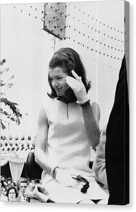 Jacqueline Kennedy, Riding In An Open Canvas Print by Everett