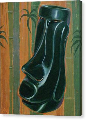 Jade Moai Canvas Print by Shawn Shea