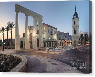 Jaffa Clock Tower Canvas Print by Noam Armonn
