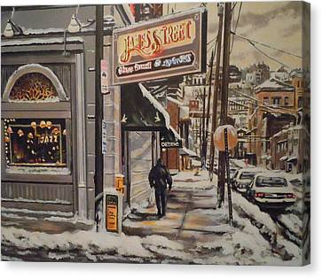 Canvas Print featuring the painting James Street Restaurant  by James Guentner