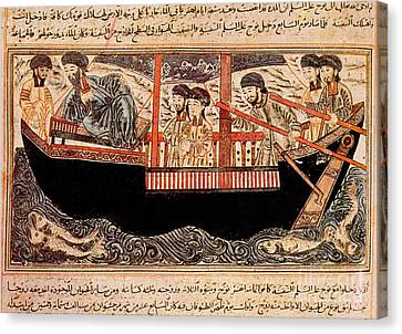 Jami Al-tawarikh, Noah And His Sons Canvas Print by Photo Researchers