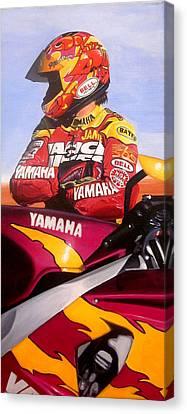 Jamie James - Yamaha Yzf Canvas Print by Jeff Taylor