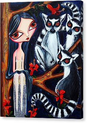 Jane And The Lemurs Canvas Print by Leanne Wilkes