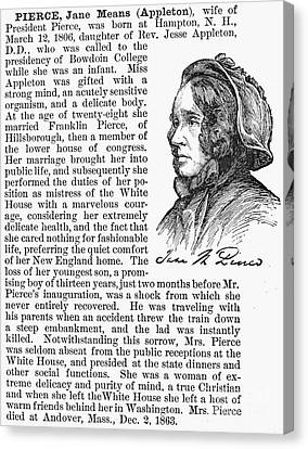 Jane Means Appleton Pierce Canvas Print