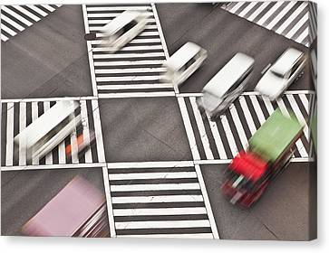 Japan, Tokyo, Shibuya Crossing, Elevated View Canvas Print by Bryan Mullennix