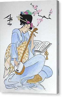 Japan Wood Block  Canvas Print by Robert Tarzwell