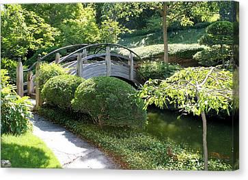 Japanese Garden Bridge Canvas Print by Lynnette Johns
