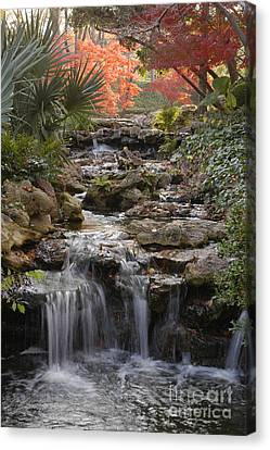 Waterfall In The Japanese Gardens, Ft. Worth, Texas Canvas Print