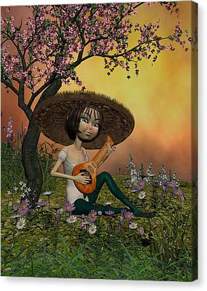 Japanese Musical Morning In The Garden Canvas Print by John Junek
