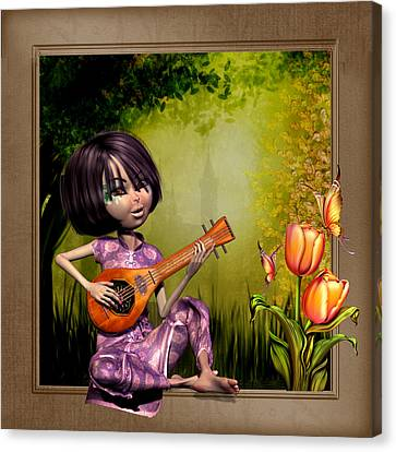 Japanese Woman Playing The Lute Canvas Print by John Junek