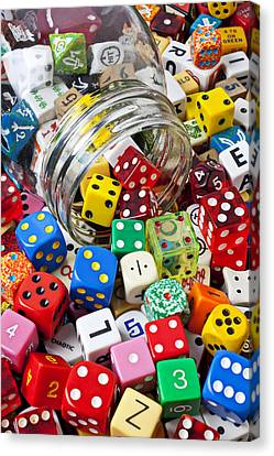 Jar Spilling Dice Canvas Print by Garry Gay