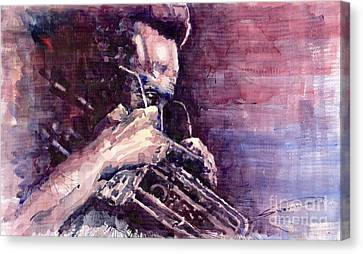 Jazz Miles Davis Meditation  Canvas Print by Yuriy  Shevchuk