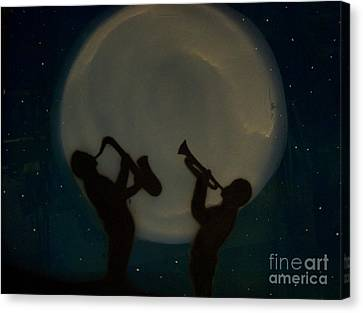 Jazzing At The Moon Canvas Print by Damion Powell