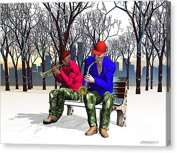 Jazzmas In The Park 1 Canvas Print by Walter Oliver Neal